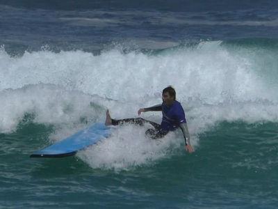 Joe Jonas Struggles to Ride Waves at Australia's Bondi Beach