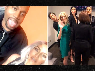 Kim Kardashian and Kanye West Up Against Kendall, Khloe and Kris for 'Family Feud' Taping