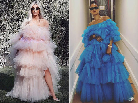 Kim Kardashian (37) vs. Rihanna (30) -- Fiercely Frilly Edition