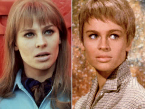 """Julie Christie is best known for playing the law-abiding housewife Linda (left) and the book savvy teacher Clarisse (right) in the OG 1966 futuristic film """"Fahrenheit 451."""""""