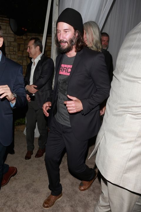 Casual Keanu Reeves reps his company, Arch Motorcycles at the annual WME Talent party in the 90210.