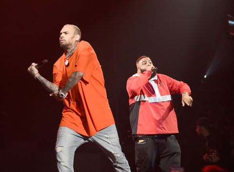 Chris Brown and DJ Khaled performs during 'Tell Me You Love Me' World Tour at The Forum on March 2, 2018 in Inglewood, California.
