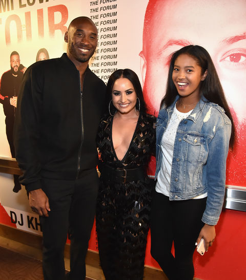 Kobe Bryant, Demi Lovato, and Natalia Diamante Bryant attend the 'Tell Me You Love Me' World Tour at The Forum on March 2, 2018 in Inglewood, California.