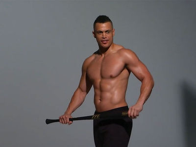 Giancarlo Stanton Greased Up and Topless, Say Cheese!