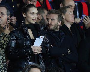 David Beckham and Bella Hadid at the PSG vs. Real Madrid Game