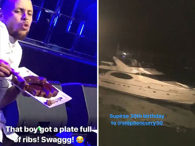 Steph Curry Slams Ribs, Parties w/ E-40 for 30th Bday Bash