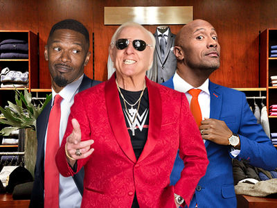 Ric Flair Hookin' Up The Rock & Jamie Foxx with Custom Suits