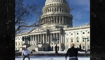 Senators Jeff Flake and Cory Booker Snowball Fight on Capitol Hill