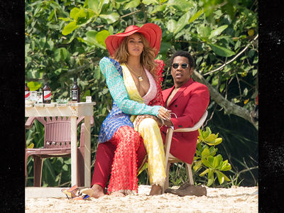 Beyonce and Jay-Z Wear Colorful Suits on Beach in Jamaica