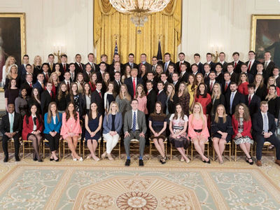 Donald Trump Poses with Almost All-White Class of White House Spring Interns