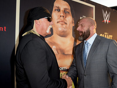 Hulk Hogan Face-To-Face w/ Triple H at Andre the Giant Premiere