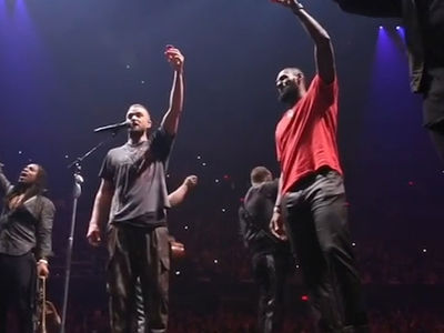 Justin Timberlake and LeBron James Take Shots at Cleveland Concert