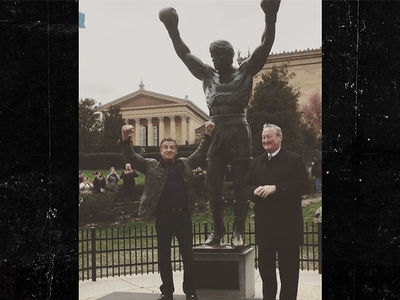 Sylvester Stallone Visits Iconic 'Rocky' Statue in Philly, Flexin' for the Fans!