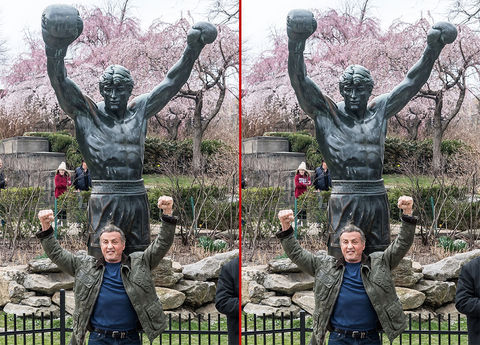 Can you spot the THREE differences in these Sylvester Stallone photos?
