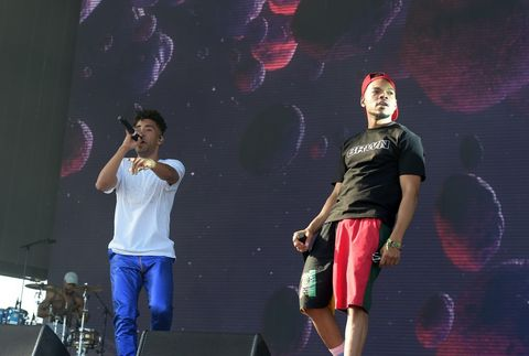 SuperDuperKyle (L) and Chance the Rapper perform onstage during the 2018 Coachella Valley Music And Arts Festival, April 13, 2018-Indio, California.