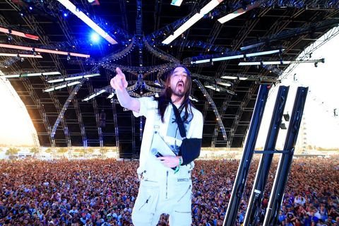 Steve Aoki performs onstage during the 2018 Coachella Valley Music And Arts Festival at the Empire Polo Field on April 13, 2018 in Indio, California.