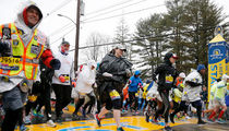 Boston Marathon Runners Soaked & Trash Baggin' in Crazy Rain Storm