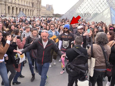 Jared Leto Draws a Massive Crowd Heading to the Louvre in Paris