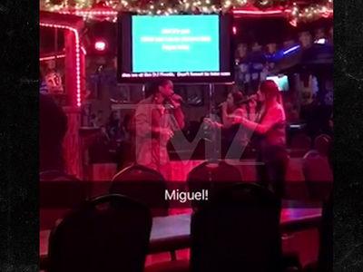 Miguel Surprises Fan Singing 'Sure Thing' at Karaoke Bar