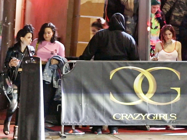 Demi Lovato & Bella Thorne Leave Strip Club Together