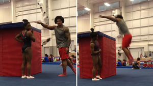 Simone Biles' Boyfriend Box Jumps Simone Biles' Height