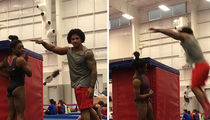 Simone Biles' Boyfriend Box Jumps Her Height