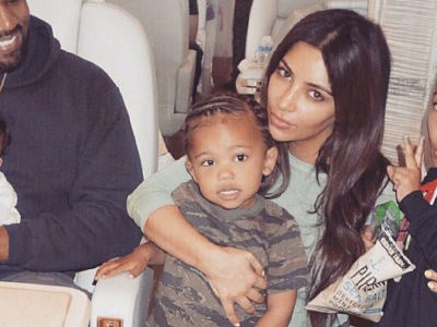 Kim Shares RARE Photo with Smiling Kanye & All Three Kids -- See Saint, North & Chicago!