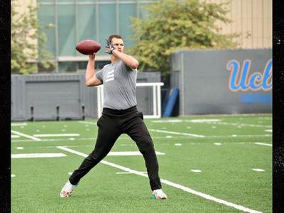 Tom Brady Runs Offensive Drills with UCLA Football Team