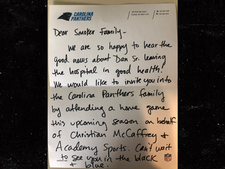 b234ff9bb Christian McCaffrey Sends Awesome Panthers Gifts to Rescued Hiker ...