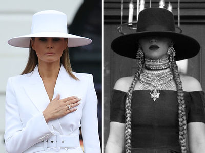 Melania Trump's White Hat is a Classic, Not a Beyonce Knockoff