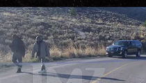 Kanye West Out Strolling the Hills of Wyoming