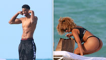 NBA's Hassan Whiteside and Thong-Flaunting GF, Ashly Ariza, Hit Up Miami Beach