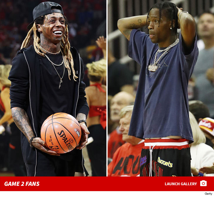 Rockets And The Warriors Game: Lil Wayne & Travis Scott Courtside For Rockets/Warriors