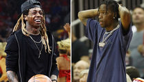 Lil Wayne & Travis Scott Courtside For Rockets/Warriors Beatdown