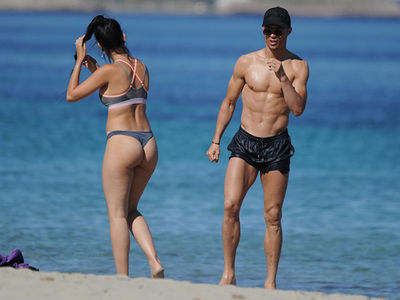 Cristiano Ronaldo and Baby Mama In Thong Bikini Hit the Beach in Ibiza