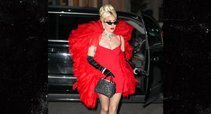 Lady Gaga Steps out in Red Dress