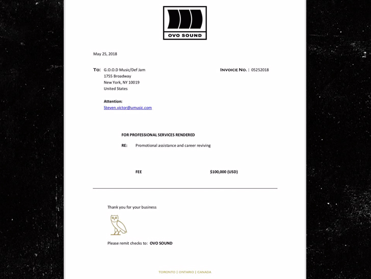 Drake Shades Pusha T And Sends K Invoice For Career Revival - Drake invoice