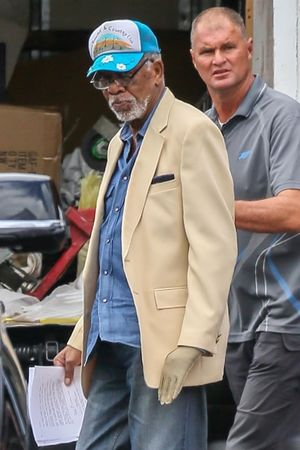 Morgan Freeman on the set of 'Poison Rose'