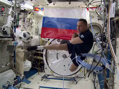 Russian Cosmonauts Bust Out Soccer Tricks In Space!!!