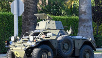 Jay Leno Drives a Tank in Los Angeles