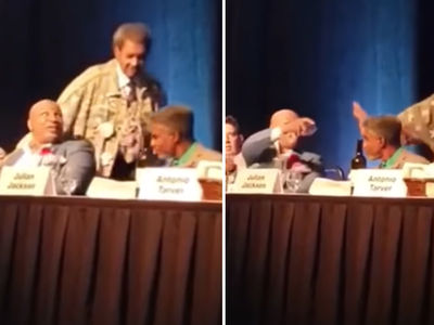 Mike Tyson Chucks Drink At Don King At Boxing Hall Of Fame Event