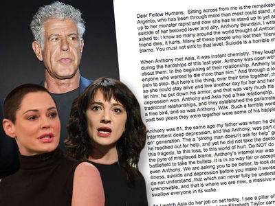 Rose McGowan Says Don't Blame Anthony Bourdain's GF Asia Argento