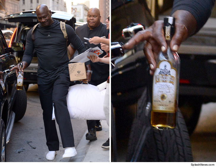 0727d7cb250b Looks like Michael Jordan turned up on a Wednesday ...  cause the G.O.A.T.  left his NYC hotel Thursday morning with half a bottle of tequila in one  hand ...