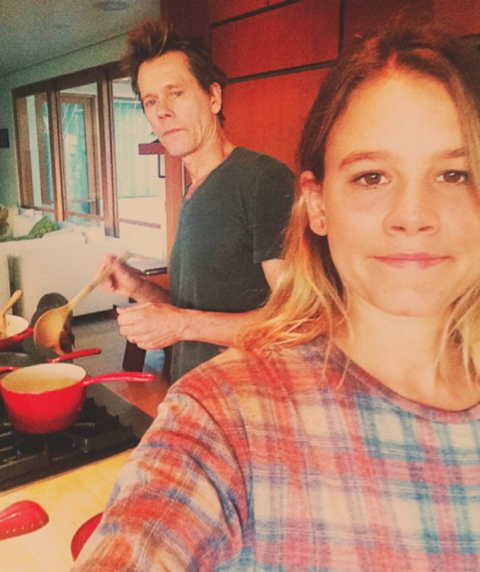 Sosie Bacon and Kevin Bacon