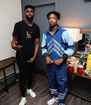 Jaylen Brown Hanging Backstage With 21 Savage