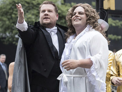 James Corden Recruits Josh Gad to Play Christine In 'Phantom of the Opera' Crosswalk Musical