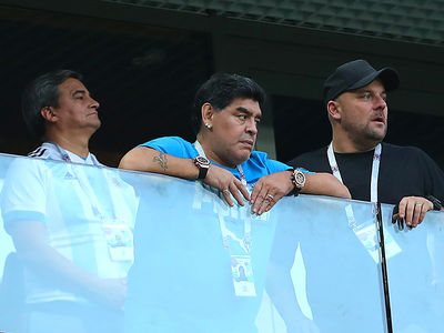 Diego Maradona Treated By Paramedics At World Cup Game