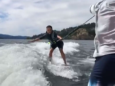Kim Kardashian Gets Up On A Wakesurf Board for the First Time