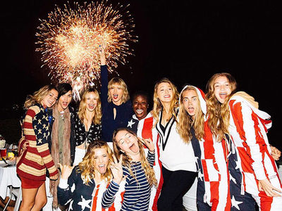 Taylor Swift -- Drowning in Celebs for July 4th Beach Bash