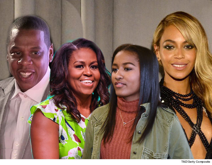 Image result for Michelle and Sasha Obama Attend Beyonce and Jay-Z Concert in Paris